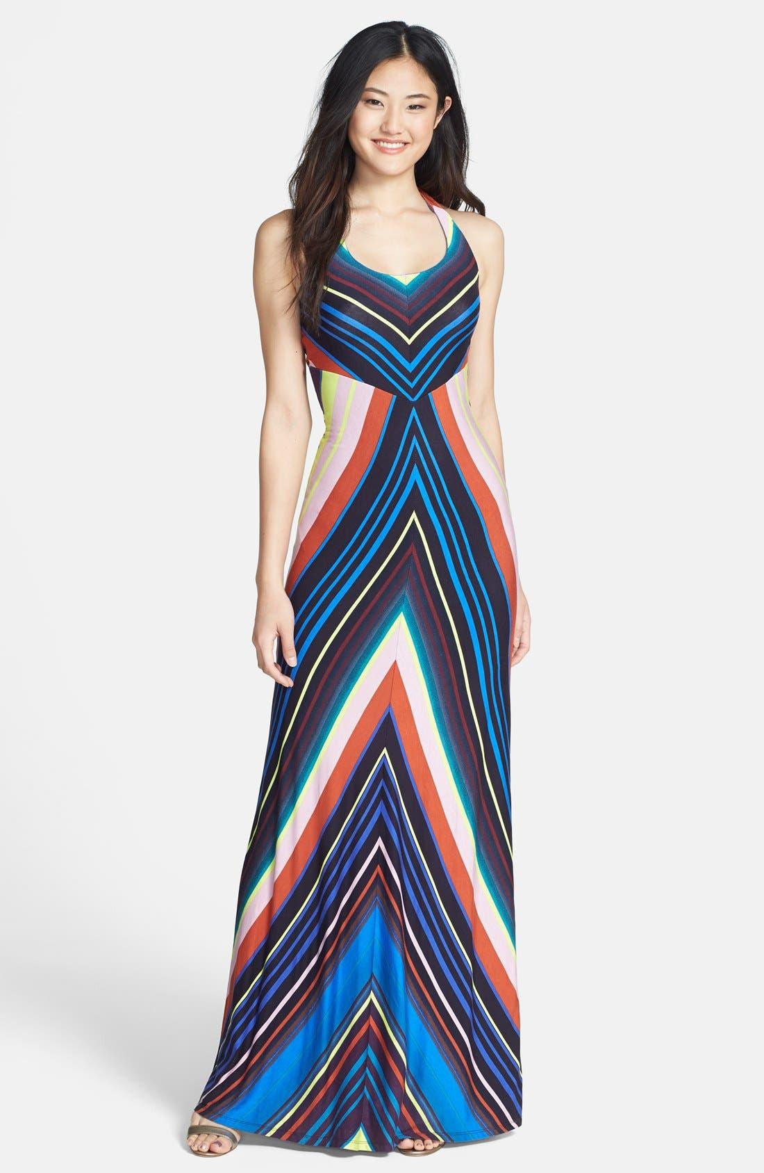 Main Image - Felicity & Coco Stripe Jersey Halter Dress (Regular & Petite) (Nordstrom Exclusive)