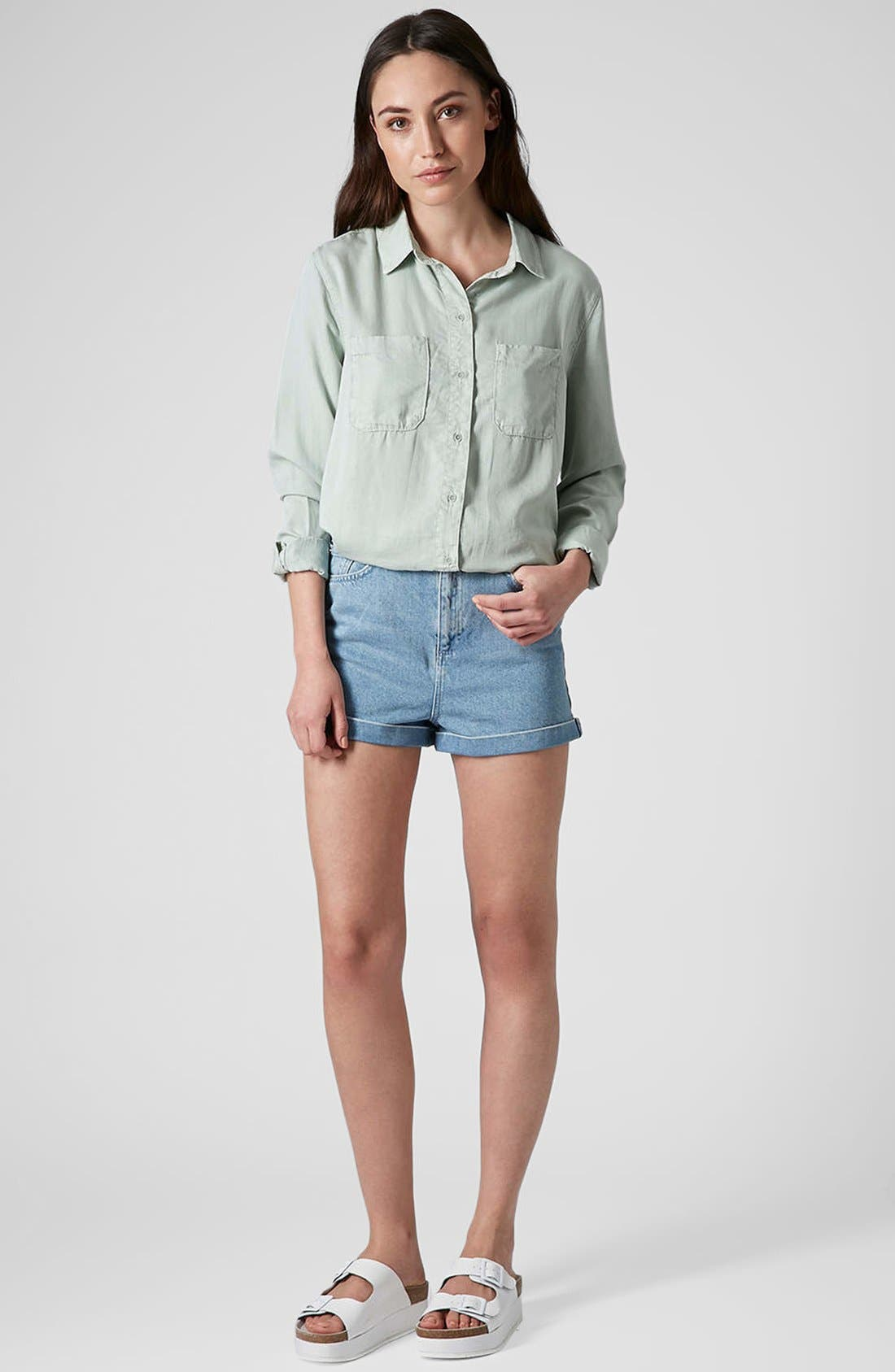 Alternate Image 5  - Topshop Moto 'Mom' High Rise Shorts (Light Denim)