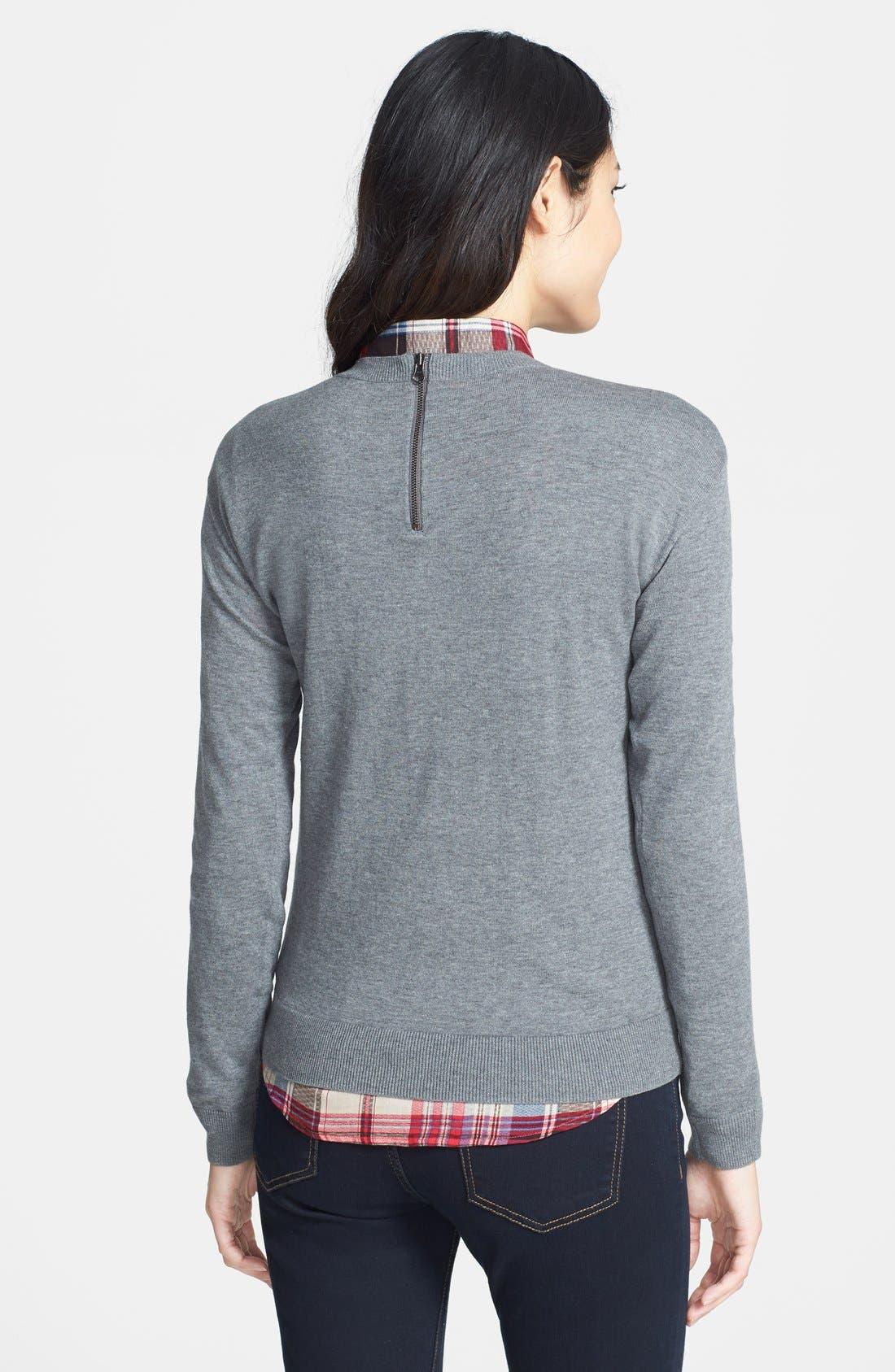 Alternate Image 2  - Halogen® 'Non' Zip Back Crewneck Sweater (Regular & Petite)