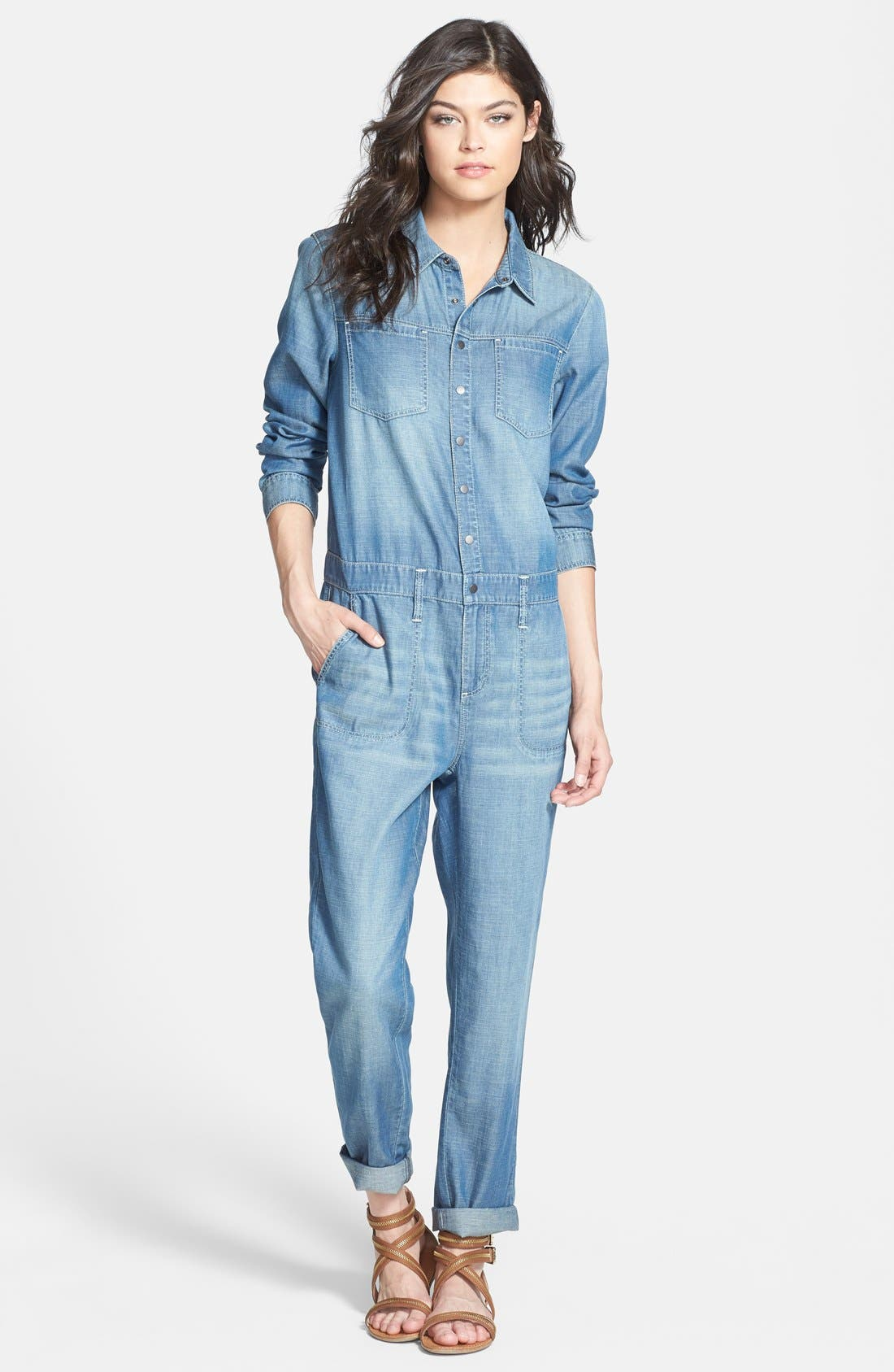 Alternate Image 1 Selected - Treasure&Bond 'Boiler' Jumpsuit (Medium Wash)