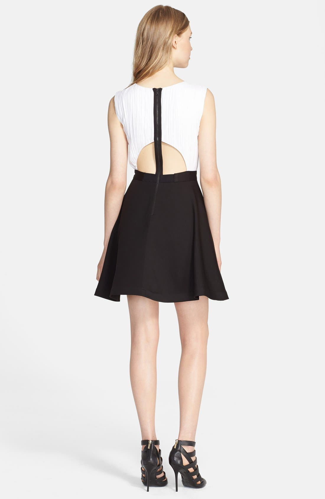 Alternate Image 2  - Alice + Olivia 'Tobin' Mixed Media Fit & Flare Dress