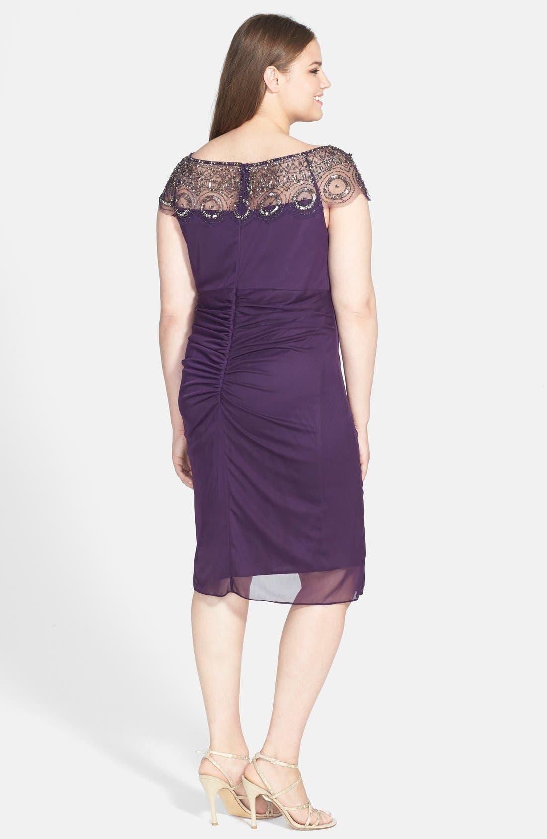 Alternate Image 2  - Xscape Beaded Ruched Dress (Plus Size)