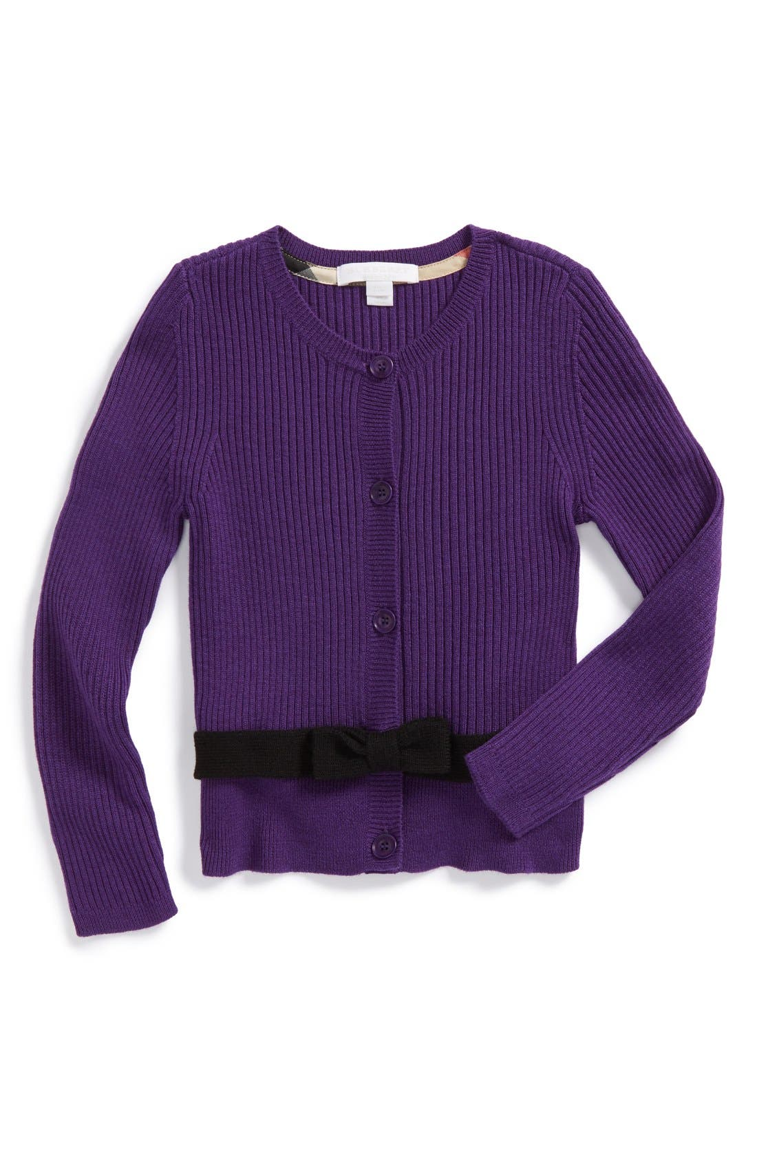 Main Image - Burberry Merino Wool Cardigan (Little Girls & Big Girls)