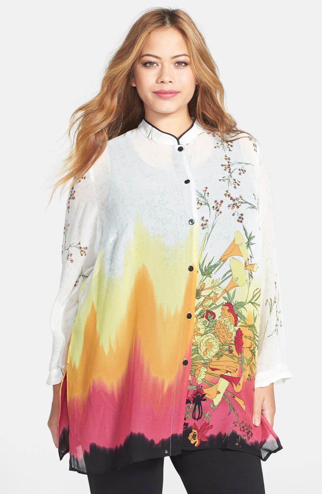 Alternate Image 1 Selected - Citron Blouse Mandarin Collar Print Silk Tunic Blouse (Plus Size)