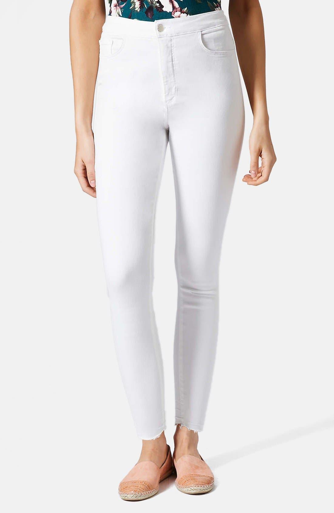 Main Image - Topshop Moto 'Joni' High Rise Crop Skinny Jeans (White)