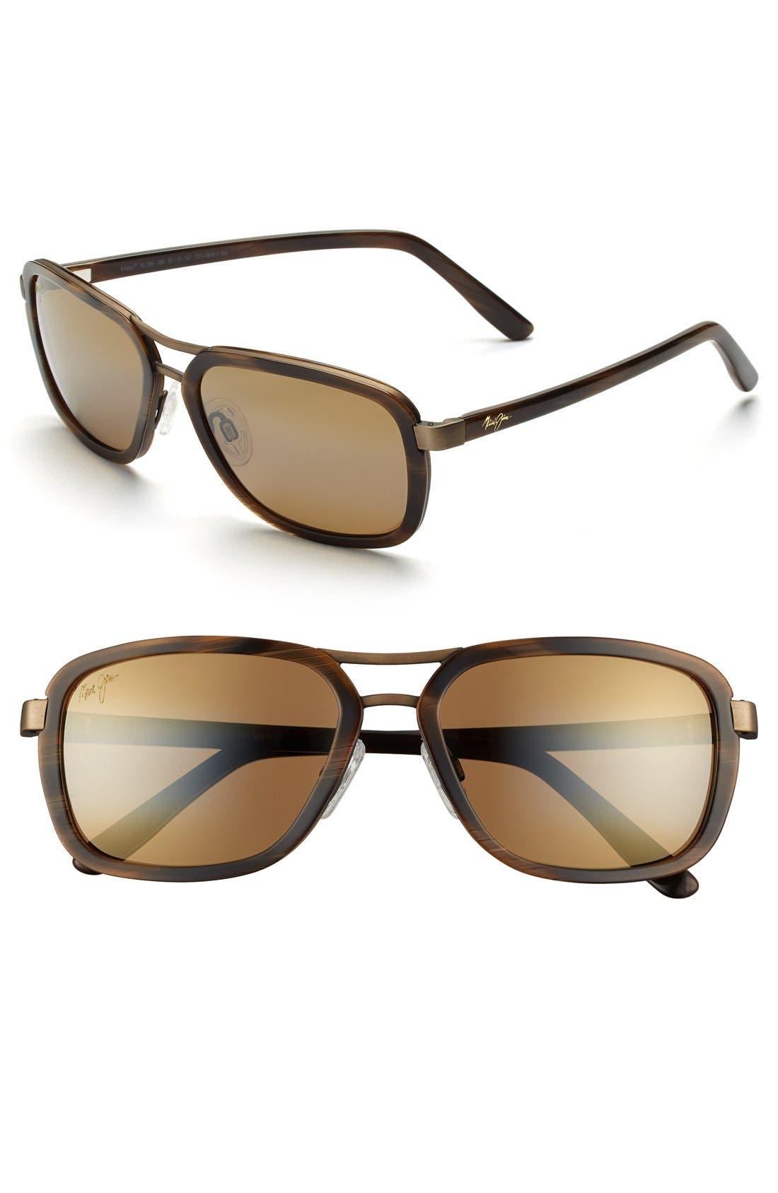 Alternate Image 1 Selected - Maui Jim 'Wanderer' 58mm Polarized Aviator Sunglasses