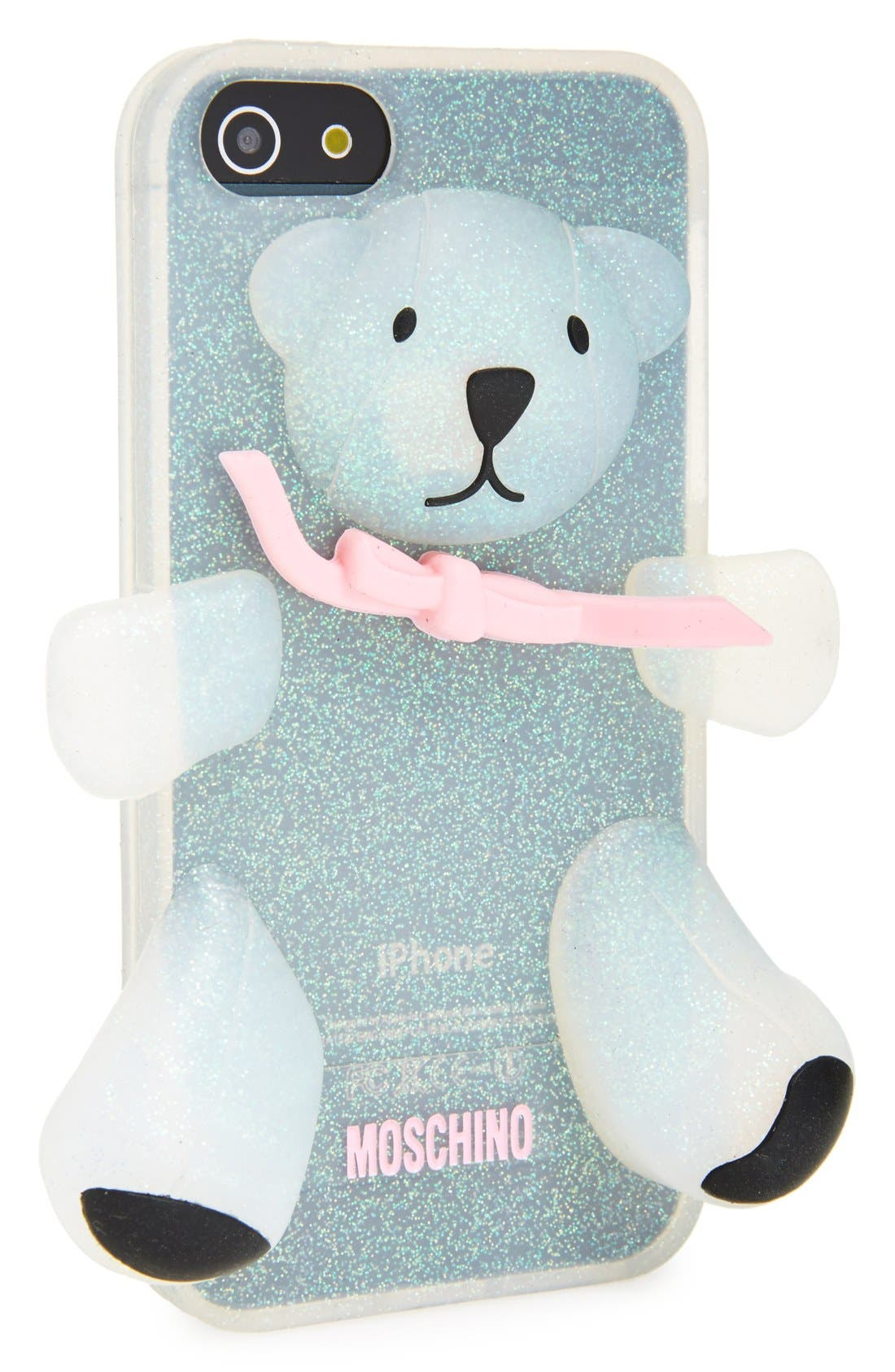 Alternate Image 1 Selected - Moschino 'Teddy Bear Glitter' 3D Rubber iPhone 5 Case