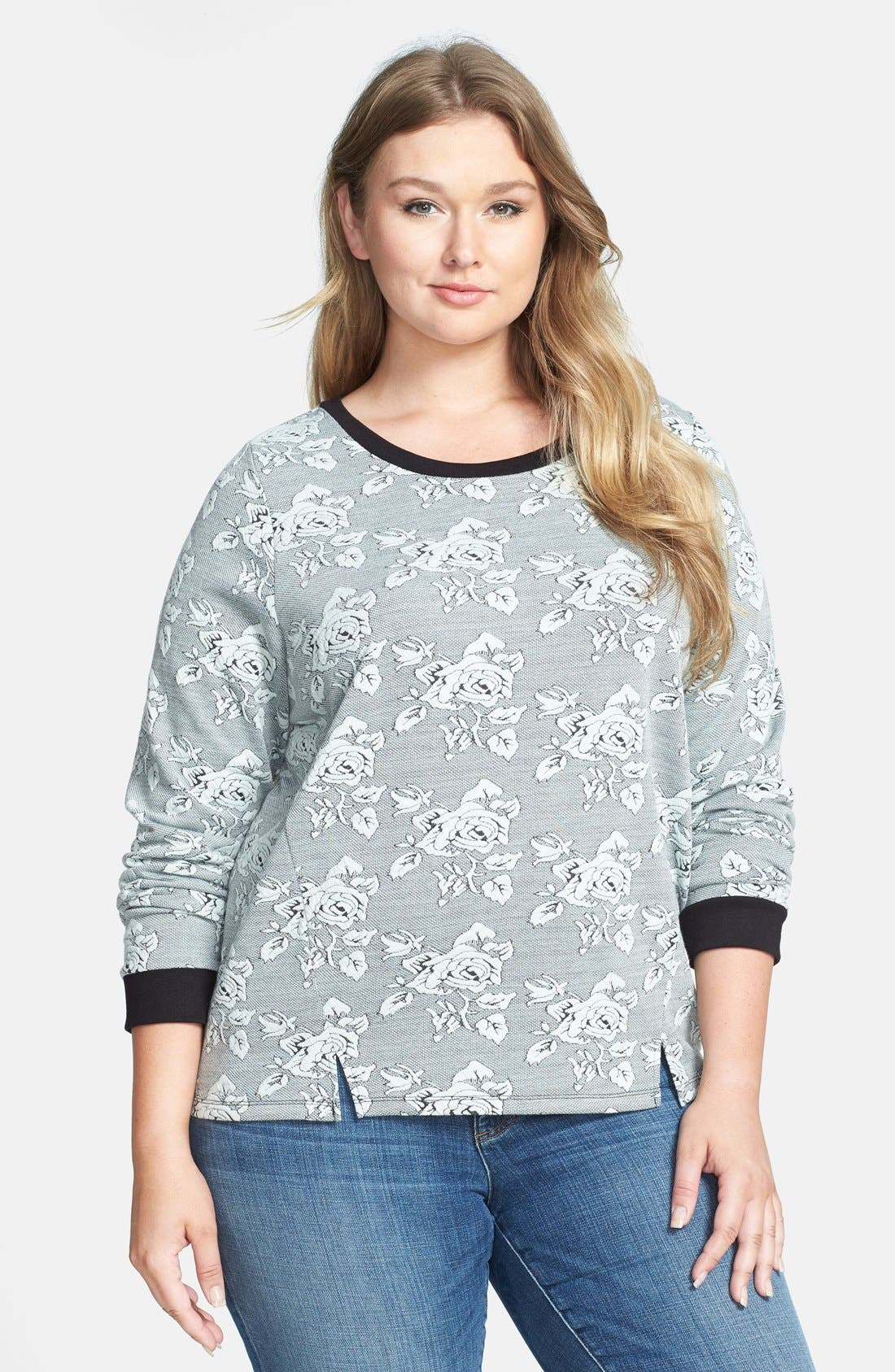 Main Image - BB Dakota 'Davi Rose' Jacquard Sweatshirt (Plus Size)