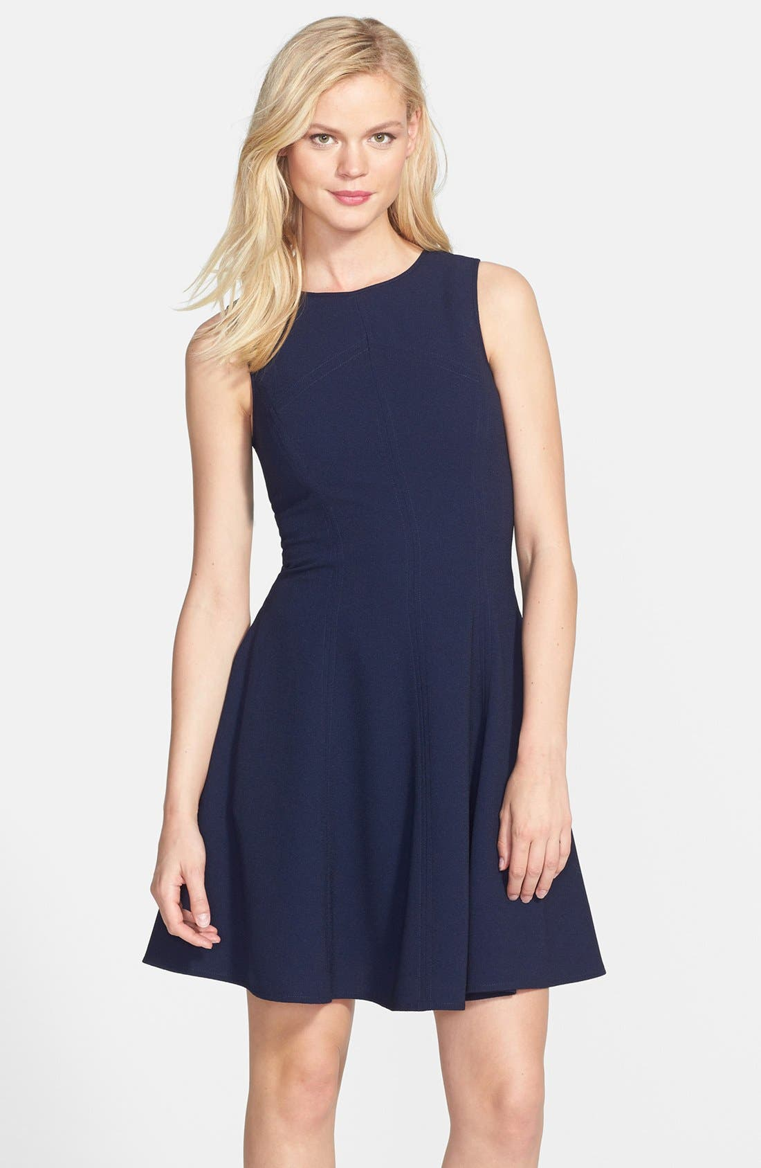 Alternate Image 1 Selected - Eliza J Seamed Double Crepe Fit & Flare Dress