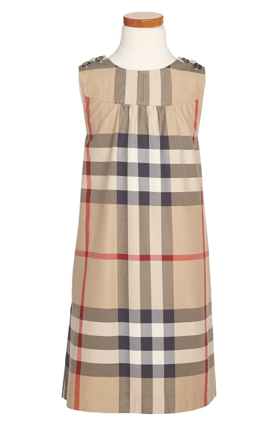Alternate Image 1 Selected - Burberry Check Print Dress (Little Girls & Big Girls)