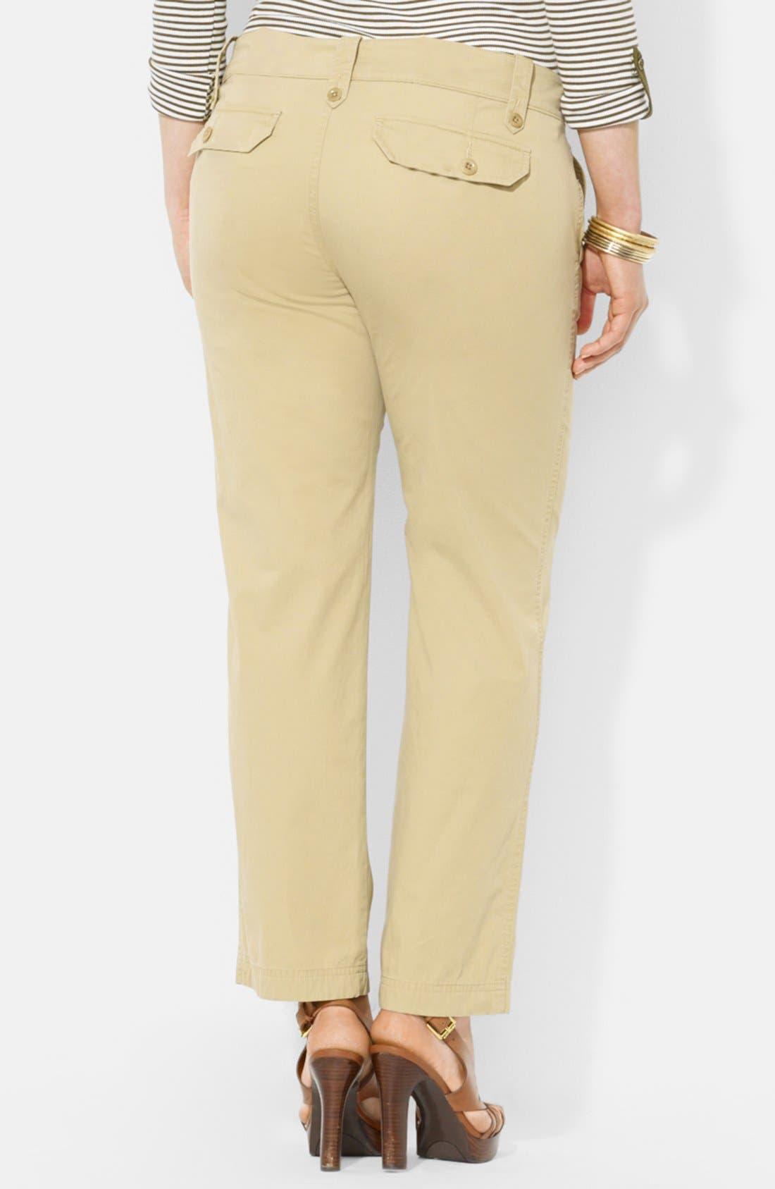 Alternate Image 2  - Lauren Ralph Lauren Twill Cargo Pants (Plus Size)