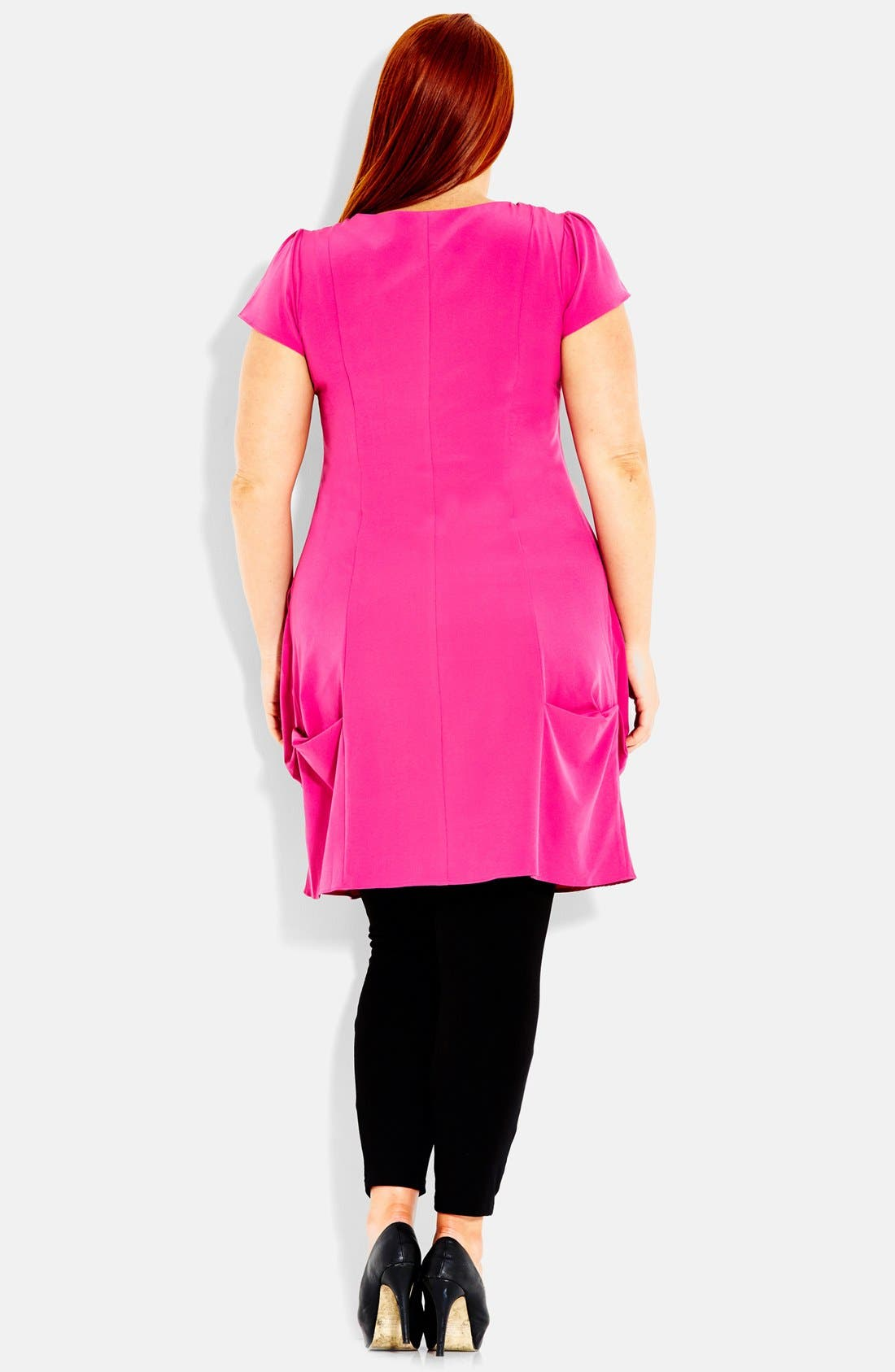 Alternate Image 2  - City Chic Front Zip Pleat Tunic (Plus Size)