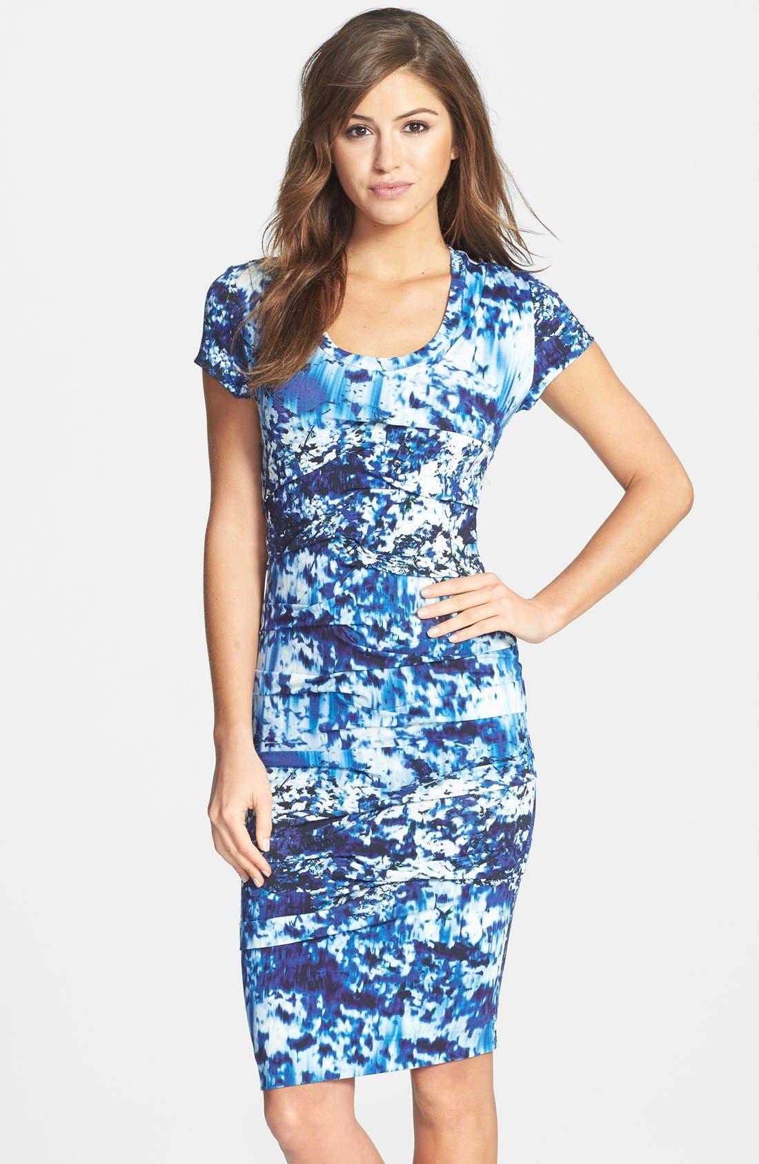Main Image - Nicole Miller 'Blue Lagoon' Print Tidal Pleat Jersey Dress