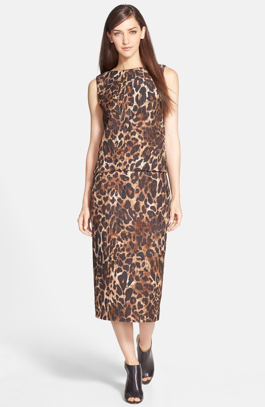Alternate Image 3  - Lafayette 148 New York 'Priscilla' Leopard Print Midi Skirt