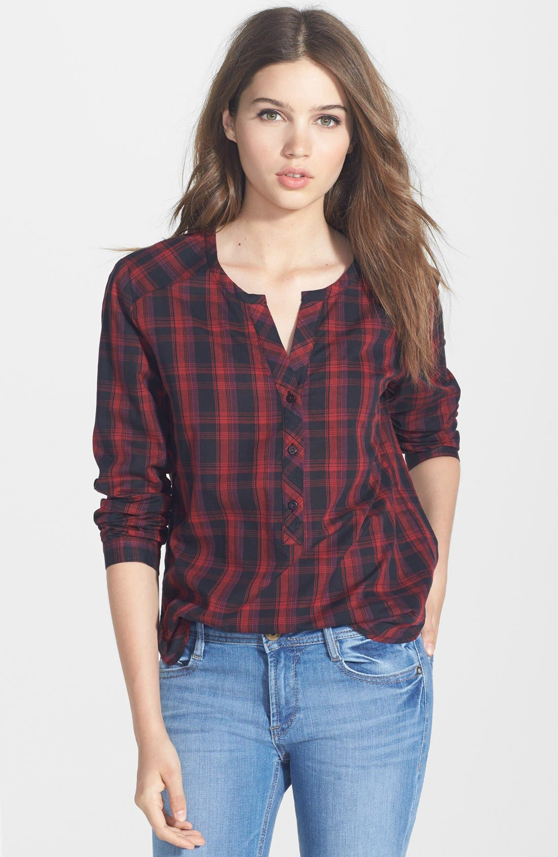 Alternate Image 1 Selected - Ace Delivery Plaid Henley Shirt