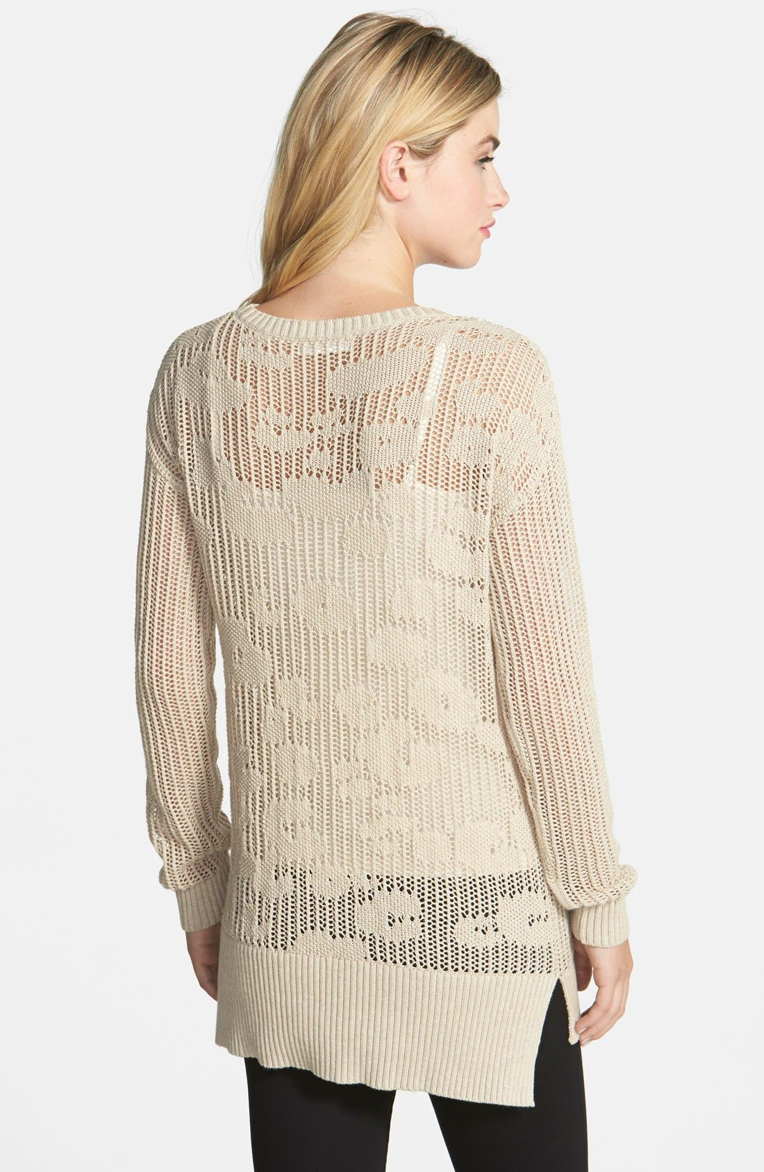 Alternate Image 2  - Two by Vince Camuto Leopard Pointelle Crewneck Sweater