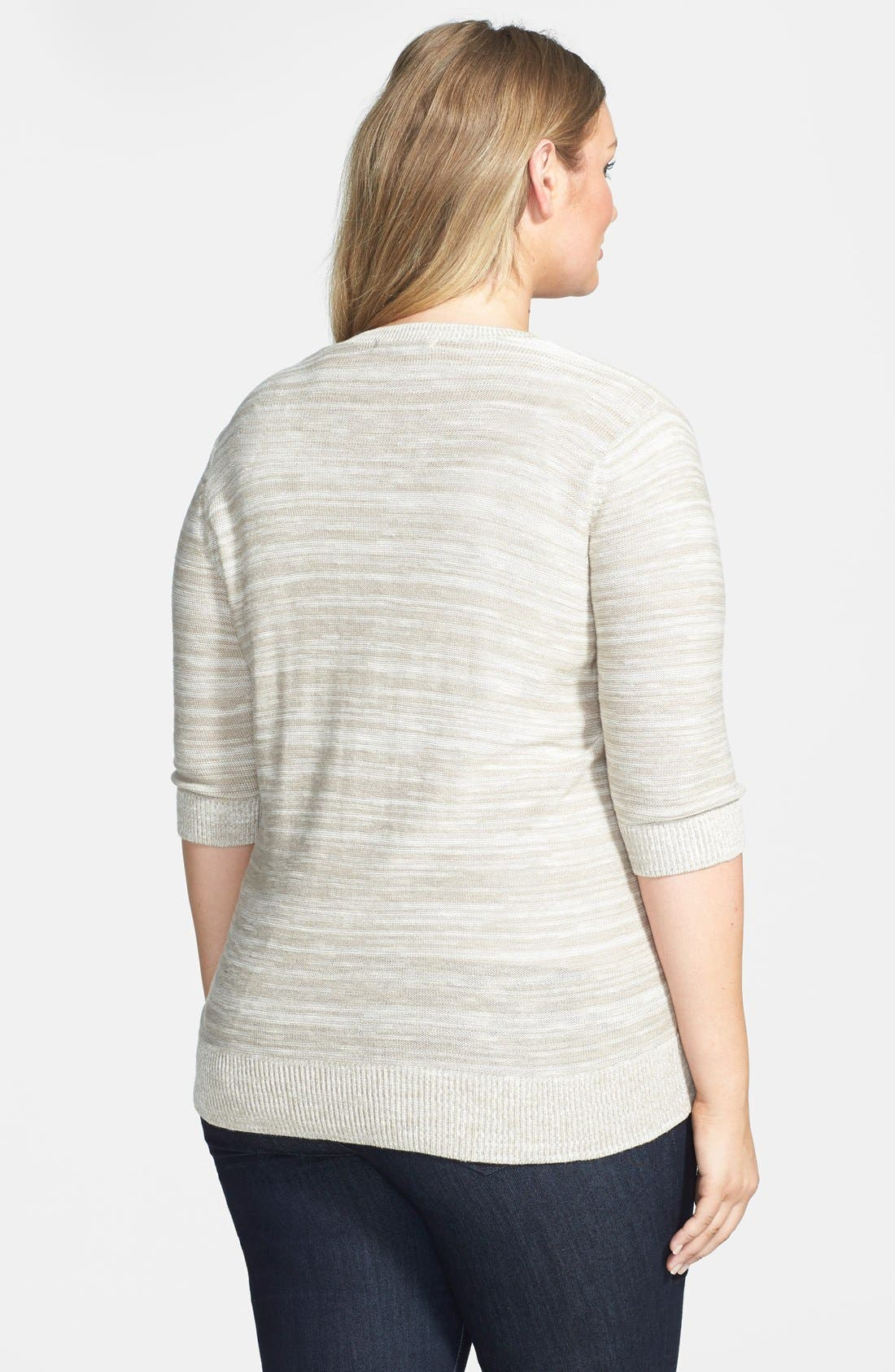 Alternate Image 2  - Sejour Elbow Sleeve Cotton Blend V-Neck Cardigan (Plus Size)