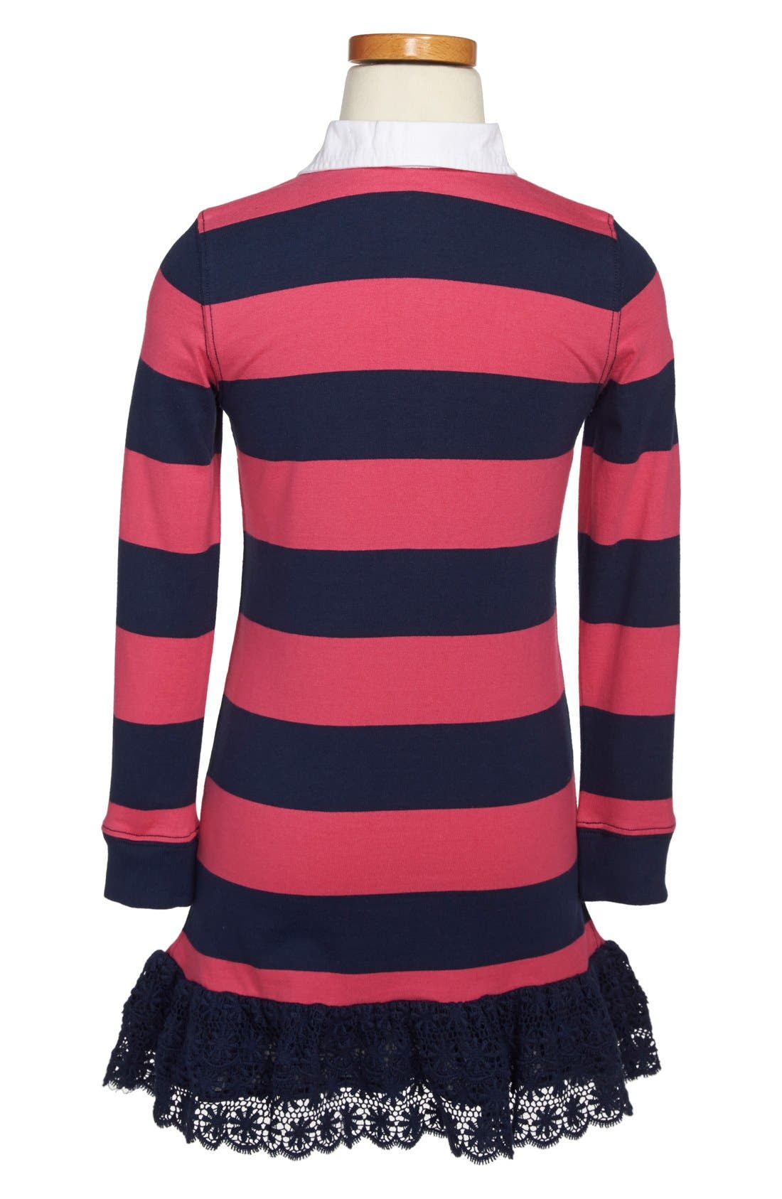 Alternate Image 2  - Ralph Lauren Rugby Stripe Long Sleeve Dress (Toddler Girls & Little Girls)