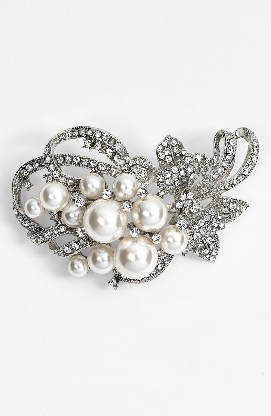Alternate Image 1 Selected - Nina 'Jaela' Faux Pearl & Crystal Brooch