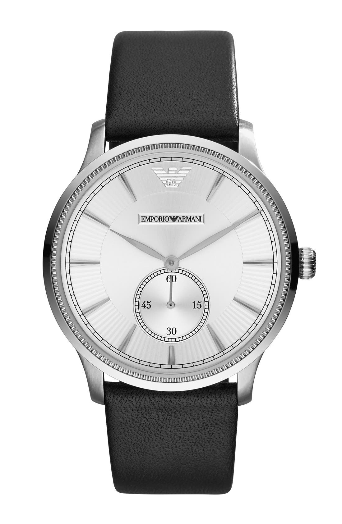 Alternate Image 1 Selected - Emporio Armani Textured Leather Strap Watch, 38mm