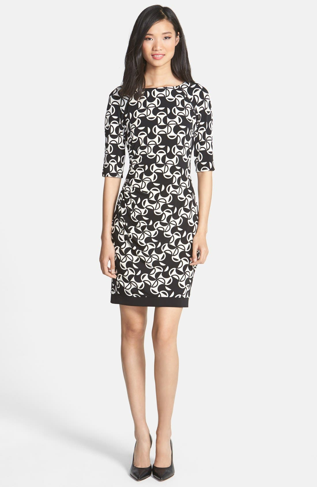 Alternate Image 3  - Donna Morgan Print Matte Jersey Sheath Dress (Petite)