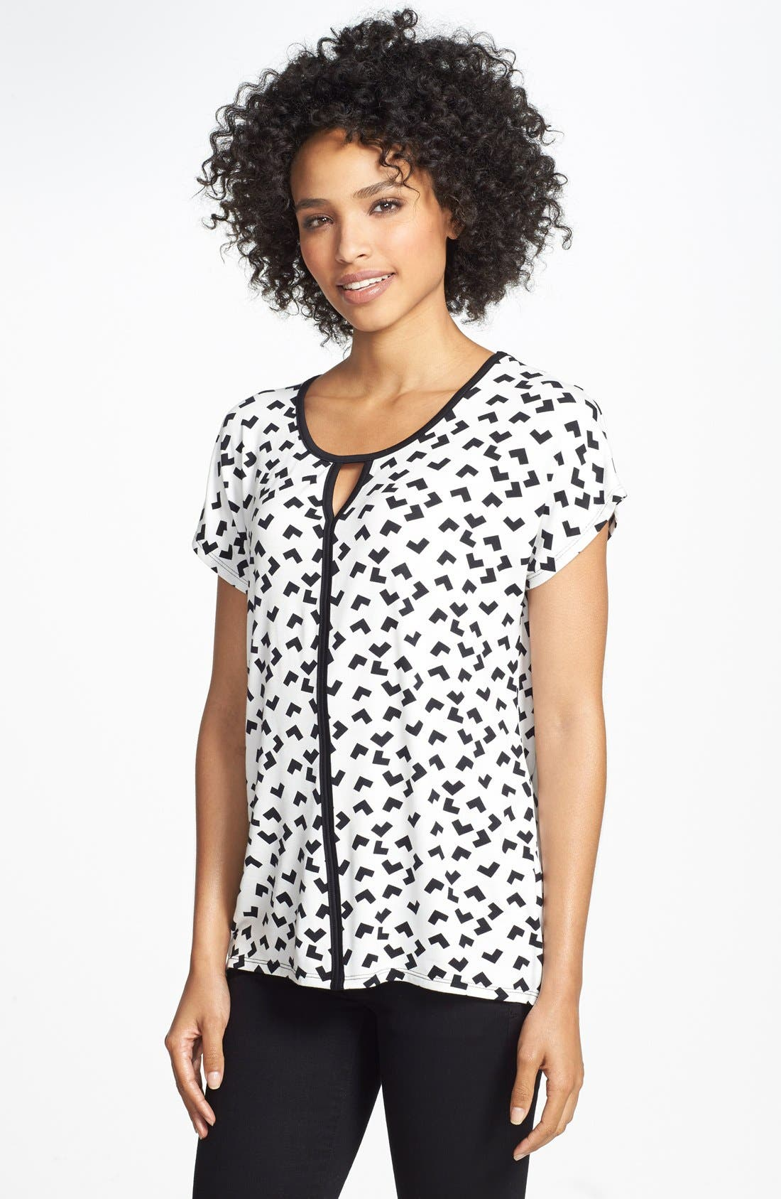 Alternate Image 1 Selected - Olivia Moon Keyhole Neck Print Tee (Regular & Petite)