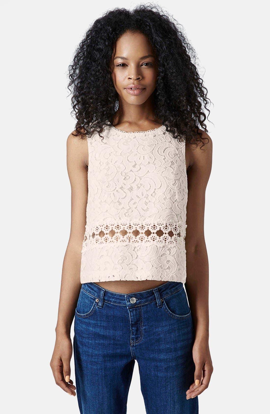 Main Image - Topshop Crochet Shell