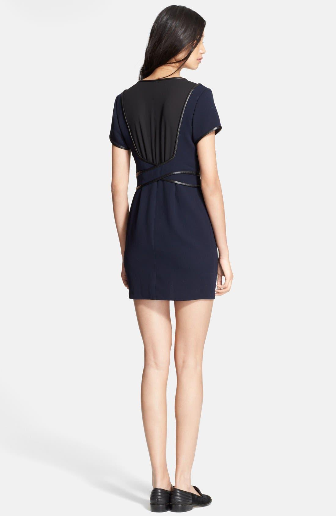 Alternate Image 2  - The Kooples Leather Trim Two-Tone Crepe Dress