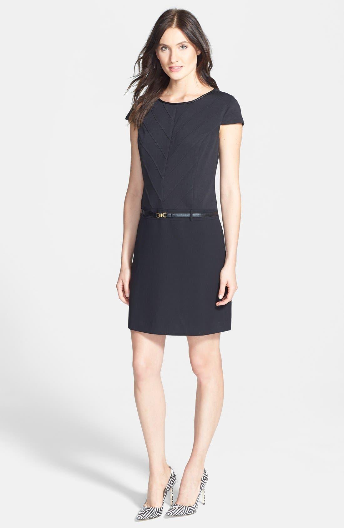 Alternate Image 3  - Ellen Tracy Mixed Media Drop Waist Shift Dress