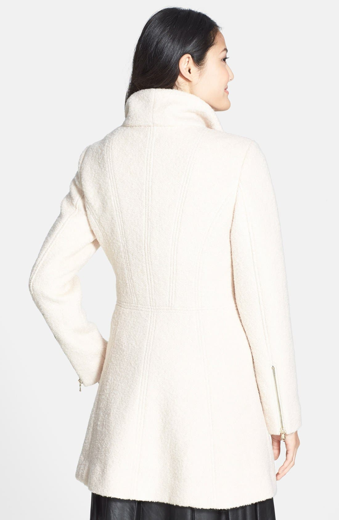 Alternate Image 2  - GUESS Asymmetrical Zip Bouclé Coat
