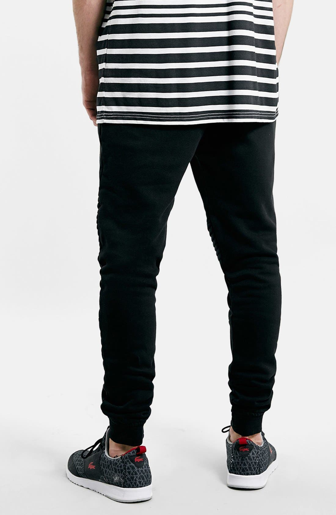 Alternate Image 2  - Topman Moto Jogger Pants with Quilted Knee Panels