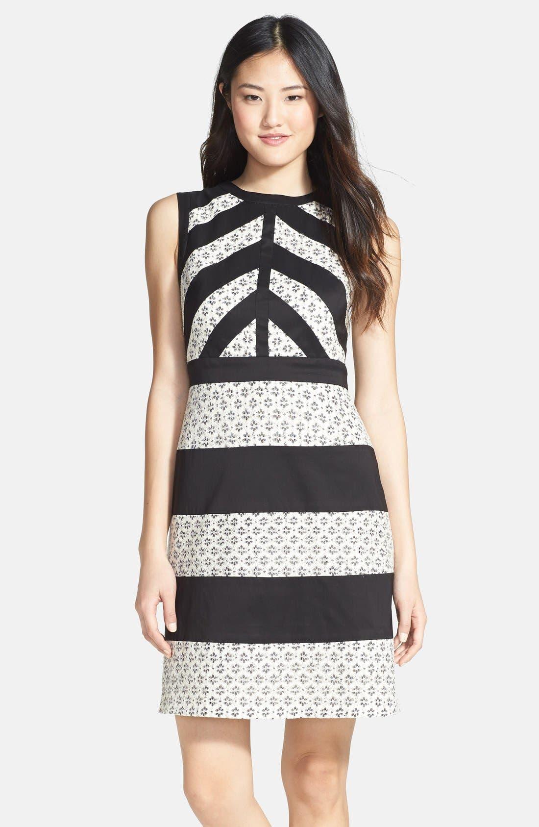 Main Image - Ivy & Blu Mixed Media Stripe Cotton Blend Dress