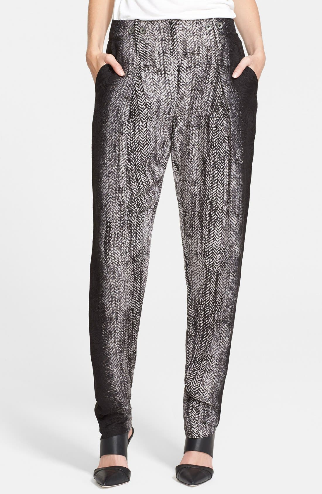 Alternate Image 1 Selected - Tracy Reese Herringbone Print Lamé Trousers