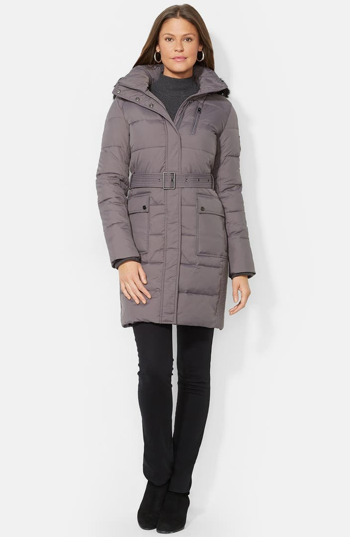 Lauren Ralph Lauren Faux Fur Trim Quilted Coat with ...