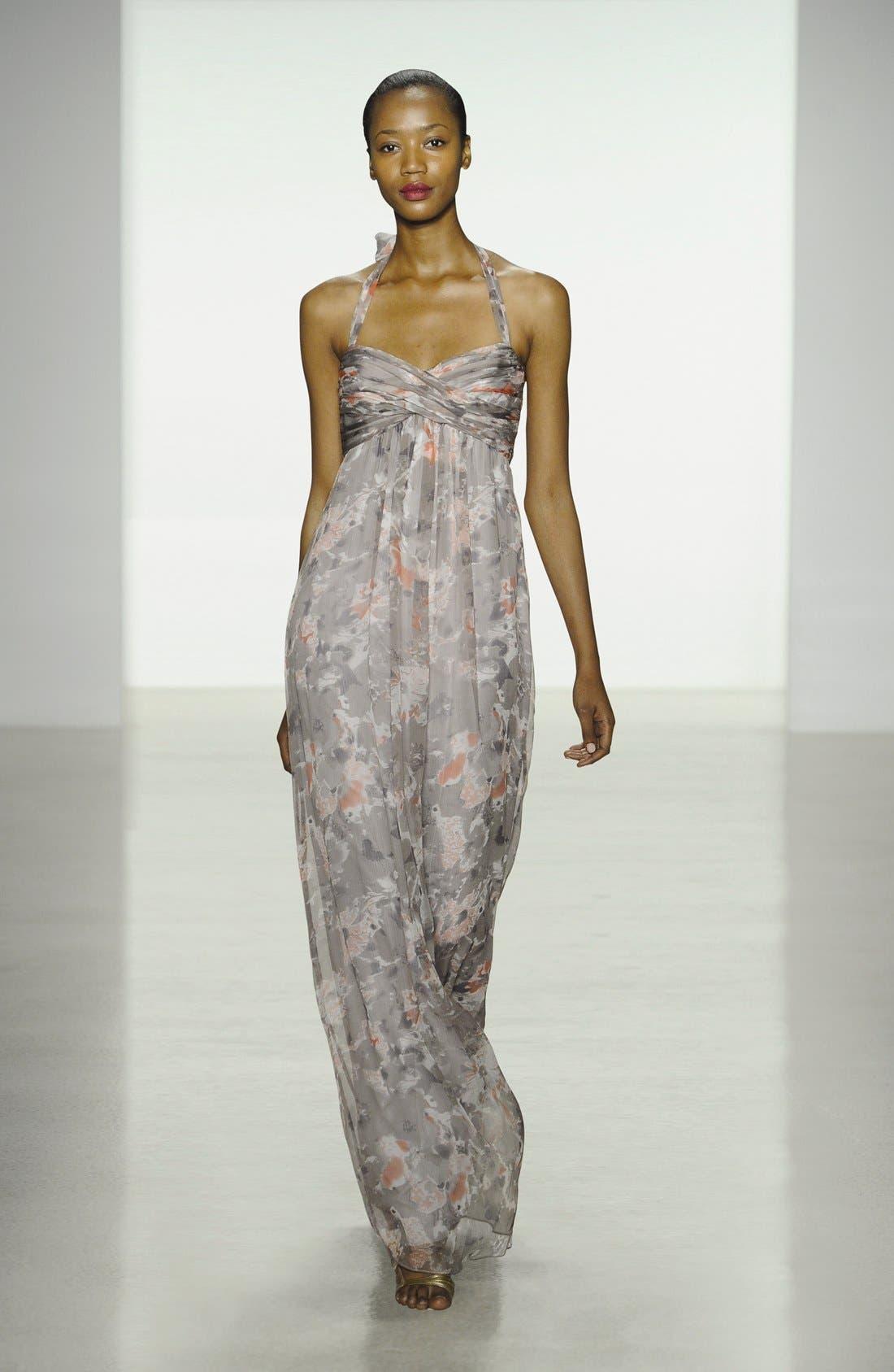 Alternate Image 4  - Amsale Print Crinkled Silk Chiffon Halter Gown