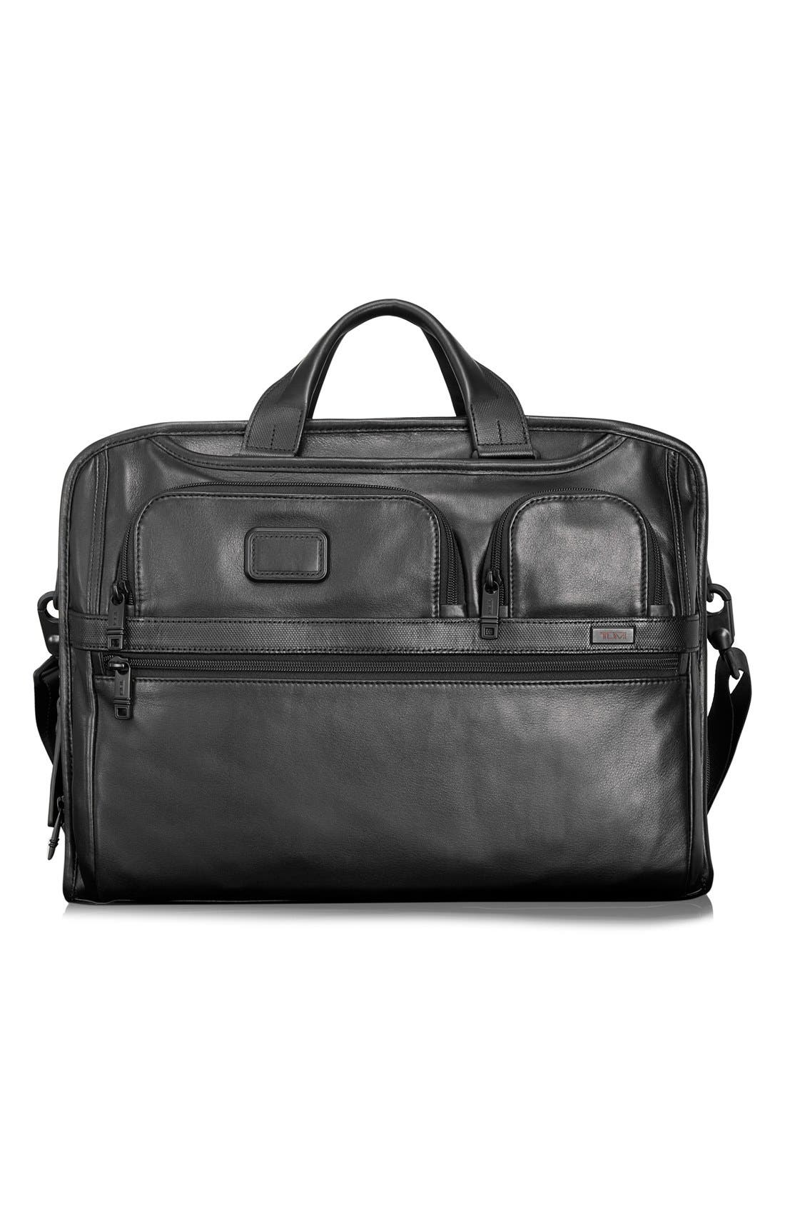 TUMI Alpha 2 Softside Leather Laptop Briefcase