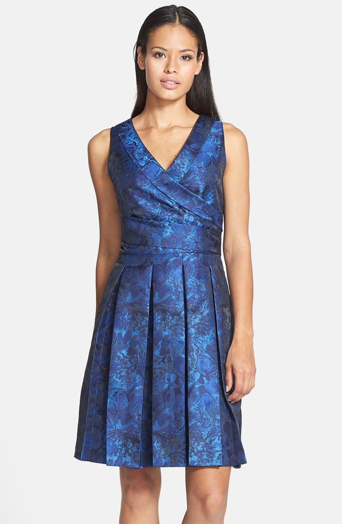 Alternate Image 1 Selected - Tahari Pleat Jacquard Fit & Flare Dress