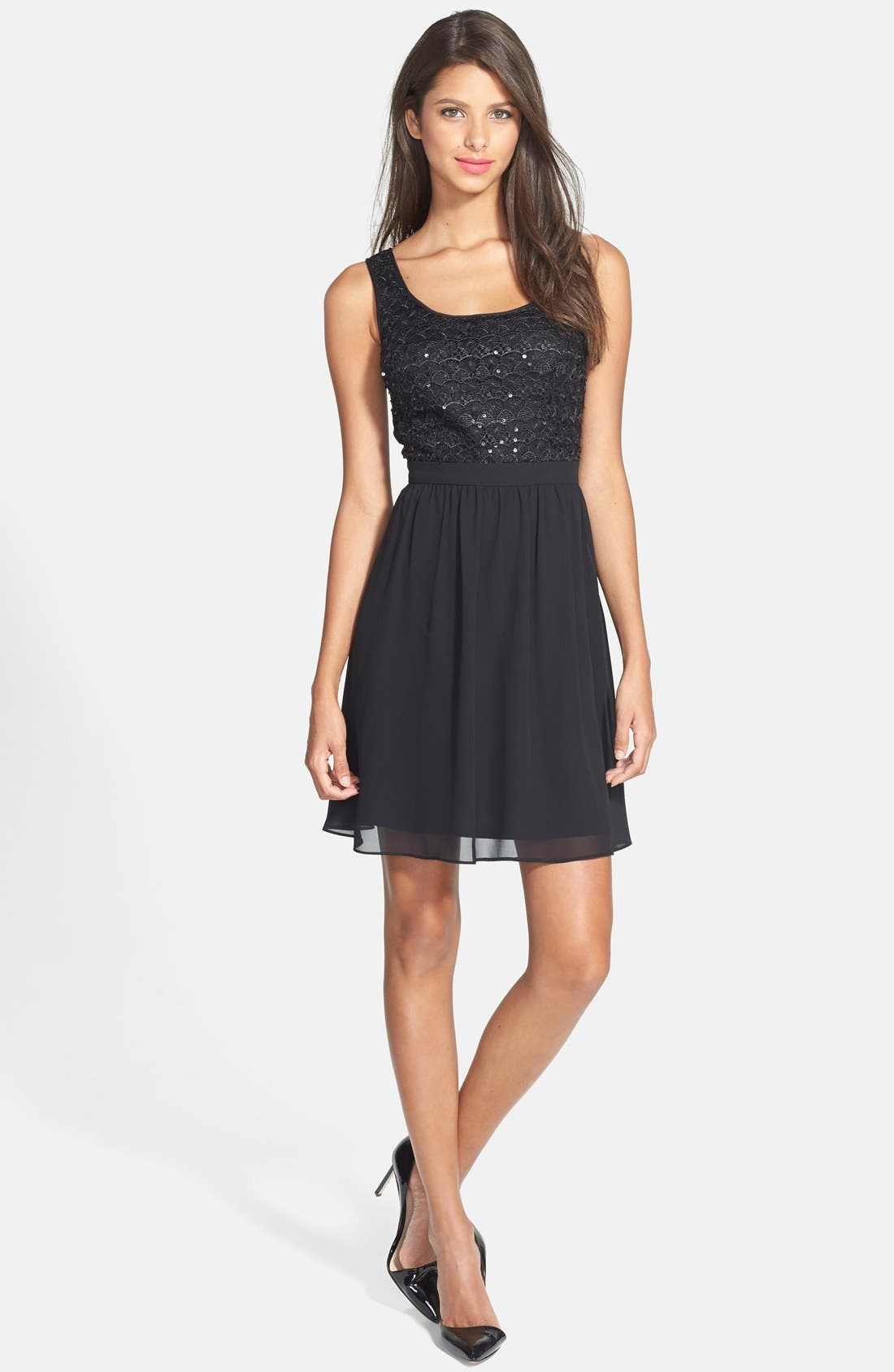 Alternate Image 3  - Hailey by Adrianna Papell Sequin Lace Illusion Fit & Flare Dress