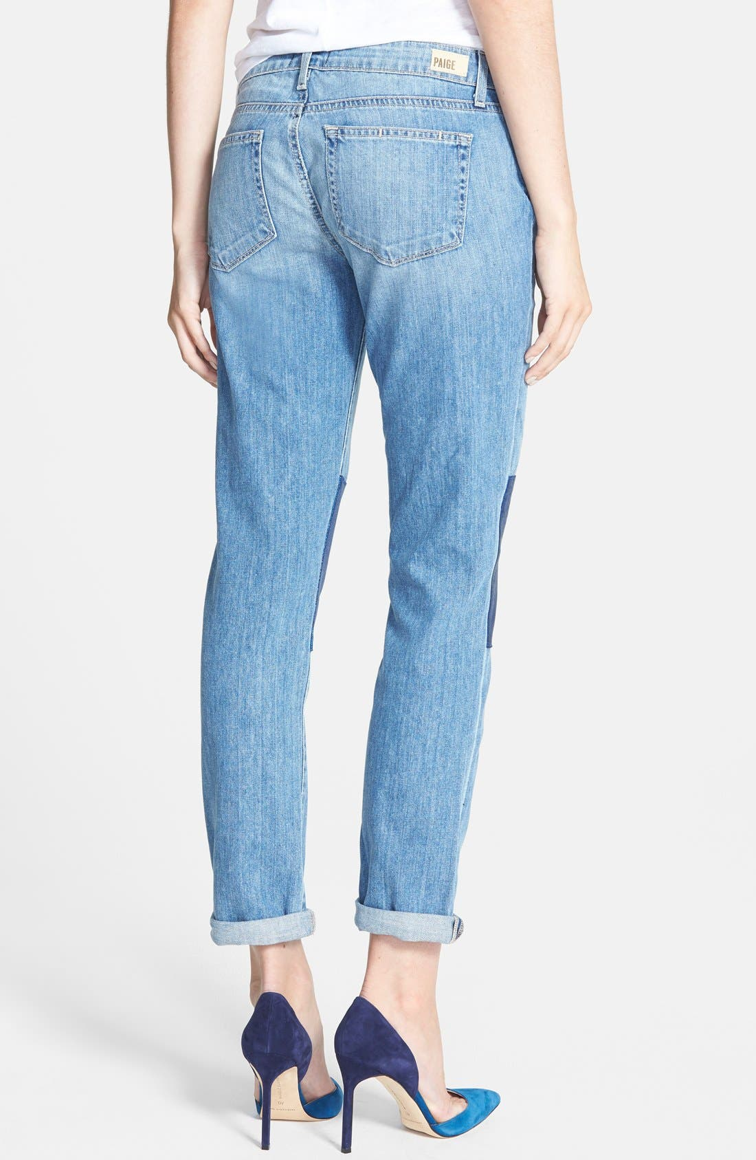 Alternate Image 2  - Paige Denim 'Jimmy Jimmy' Knee Patch Skinny Boyfriend Jeans (Nico Blue)