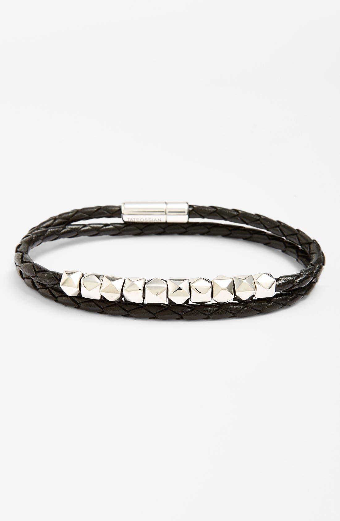 Main Image - Tateossian Studded Leather Wrap Bracelet