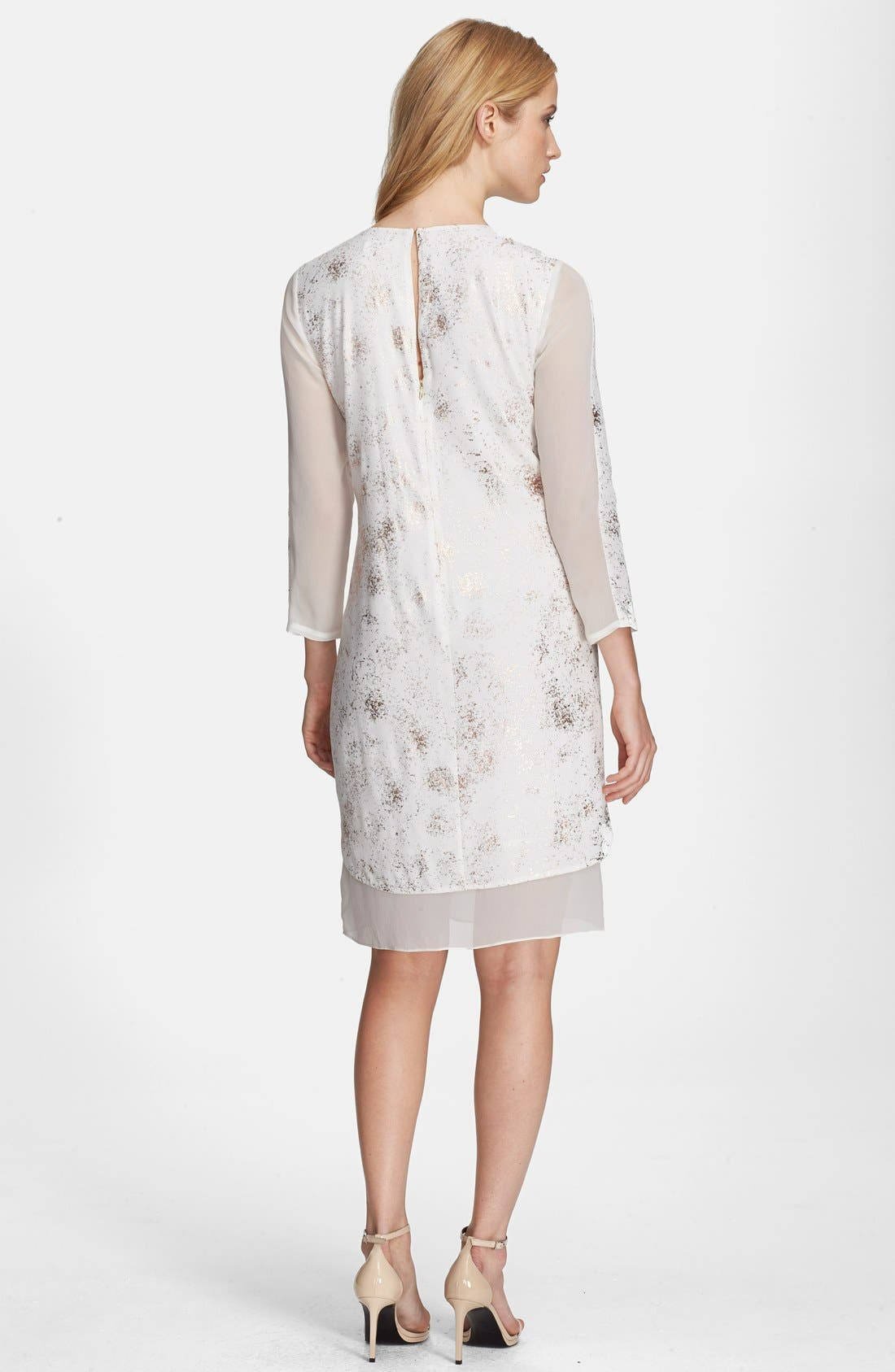 Alternate Image 2  - Rebecca Taylor Foil Print Silk Trim Shift Dress