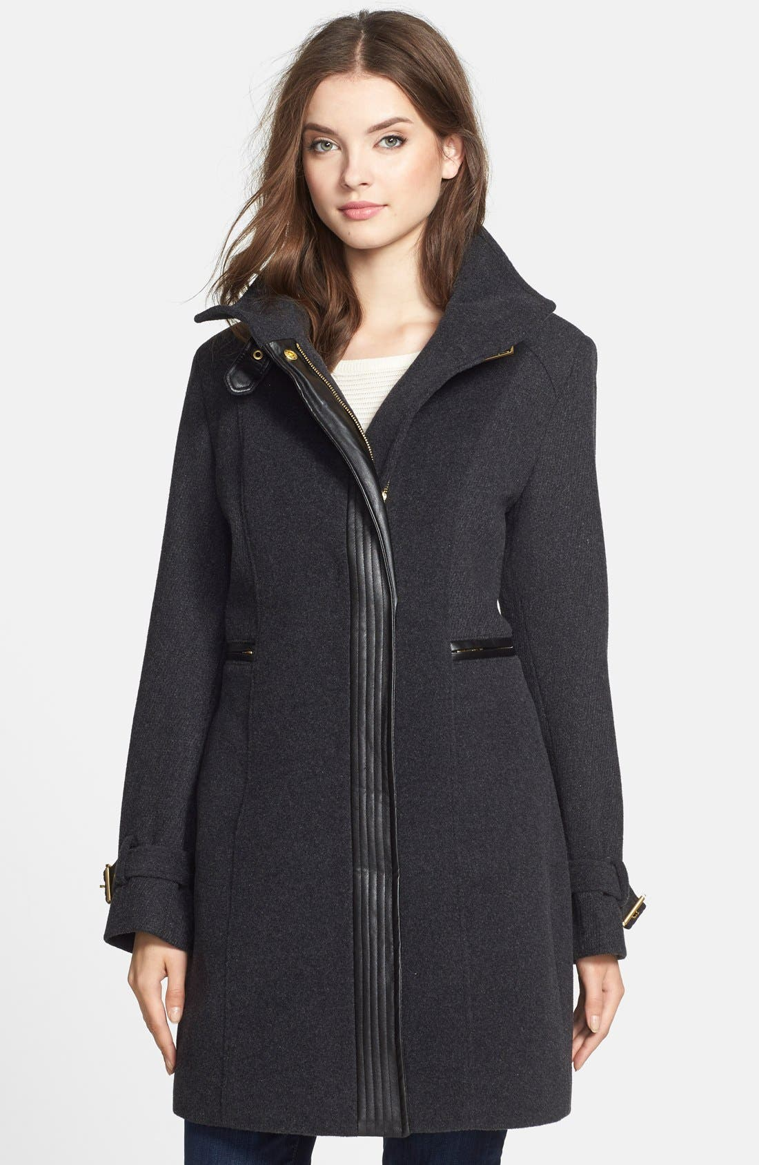 Main Image - Cole Haan Faux Leather Trim Textured Wool Coat