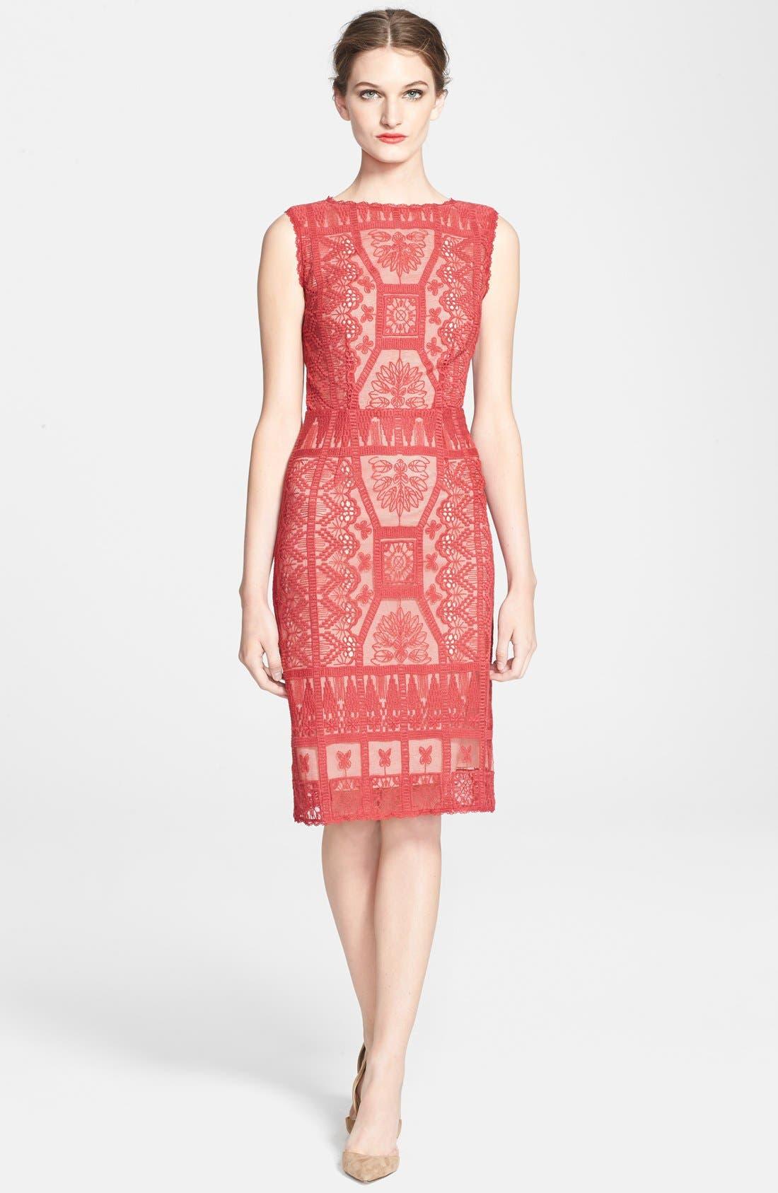 Main Image - Korovilas 'Estella' Embroidered Lace Sheath Dress