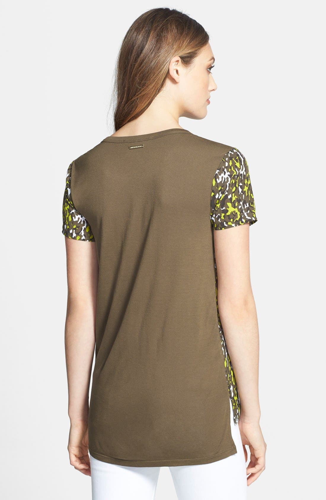 Alternate Image 2  - MICHAEL Michael Kors Camo Print Mixed Media Tee (Petite)