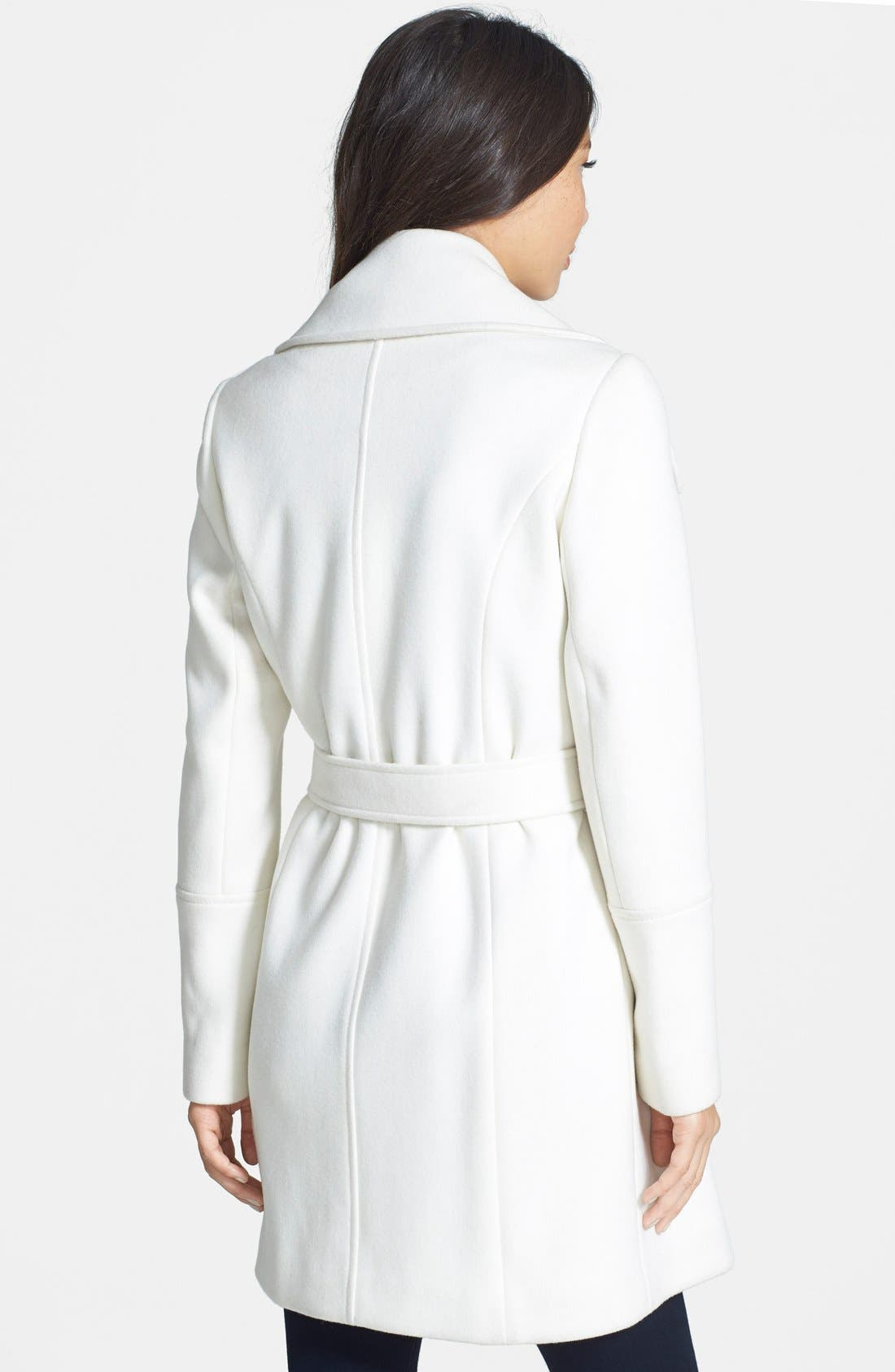 Alternate Image 2  - T Tahari Belted Notch Collar Wool Blend Coat