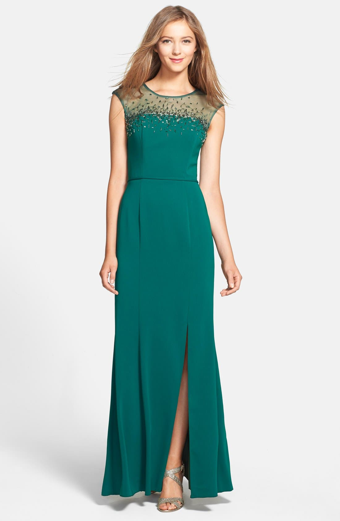 Alternate Image 1 Selected - JS Boutique Beaded Crepe Gown