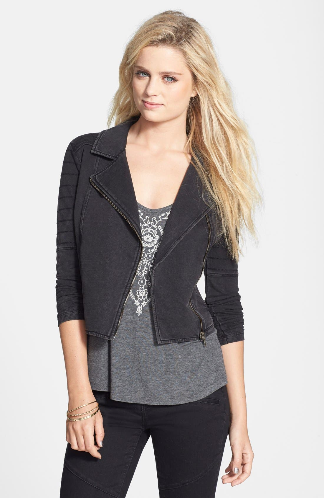 Alternate Image 1 Selected - Rubbish Quilted Knit Biker Jacket (Juniors)