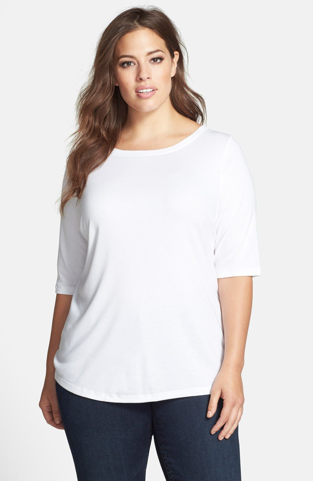 Main Image - Sejour Elbow Sleeve Tee (Plus Size)