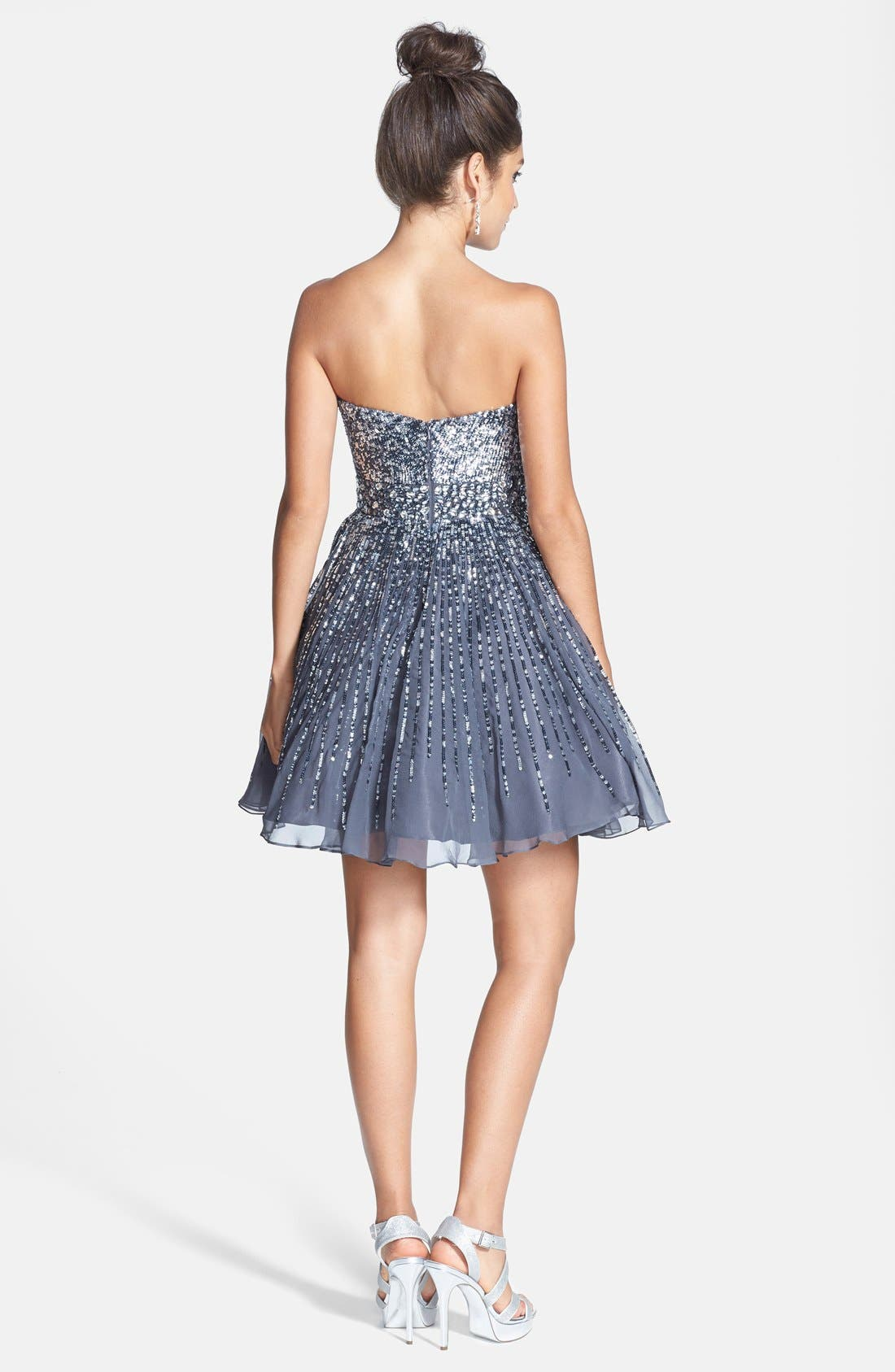 Alternate Image 2  - Sherri Hill Embellished Silk Fit & Flare Dress