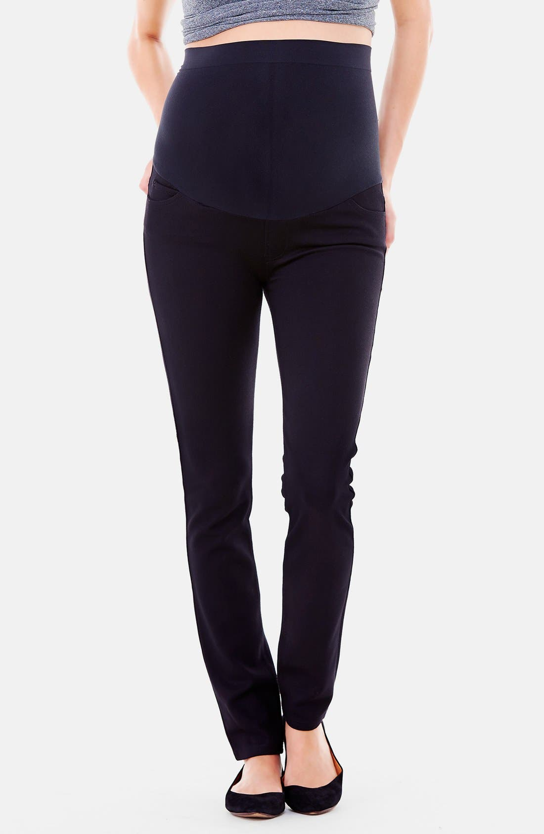 Main Image - Ingrid & Isabel® Ponte Knit Skinny Maternity Pants